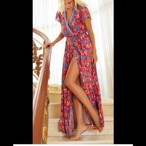 Hale Bob M Siobhan Floral Wrap Dress Maxi
